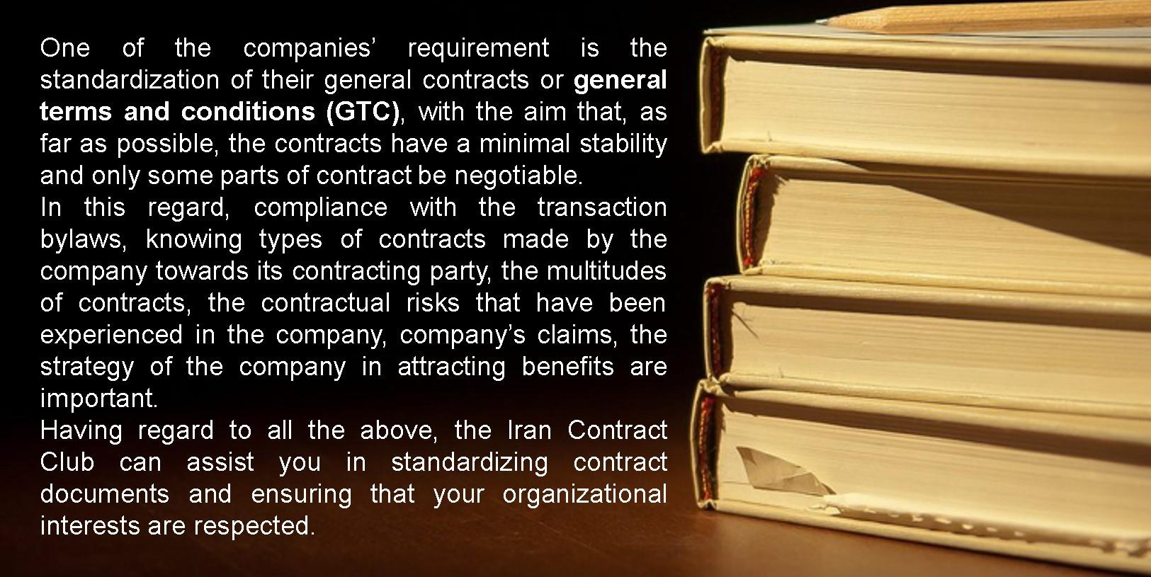 establishment of contract standards-Iran contract club