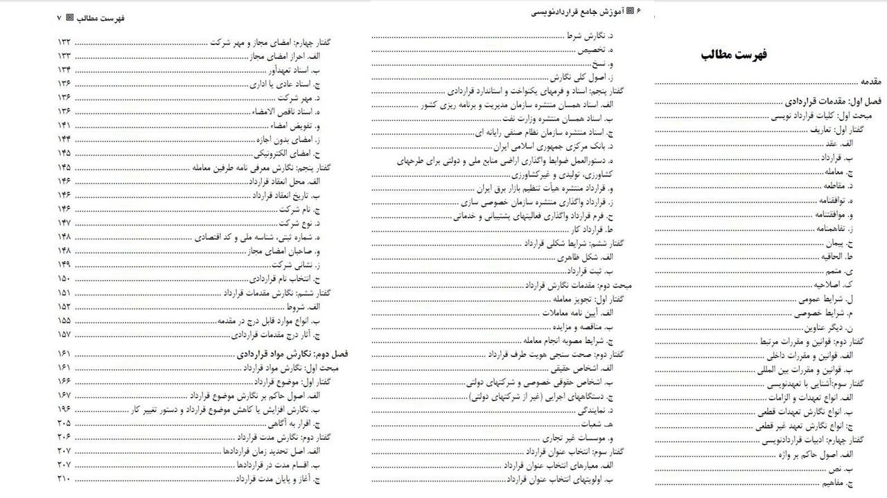 فهرست مطالب کتاب آموزش جامع قراردادنویسی